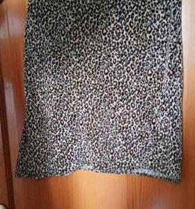 Юбка стрейч леопардовая плюшевая