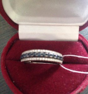 Кольцо белое золото 585 пробы с сапфирами и брил