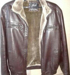 Срочно до 21.02 Мужская кожаная зимняя куртка