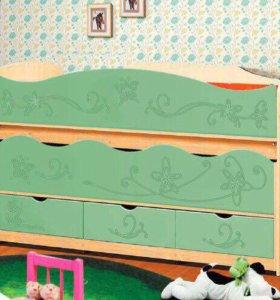 Кровать детская для двоих детей с ящиками