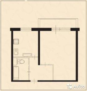 Квартира, 1 комната, 37.9 м²