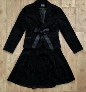 Тёплый «замшевый» чёрный костюм oggi 42/170