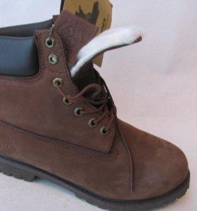 Ботинки Зимние Timberland Мех Нубук Коричн.43