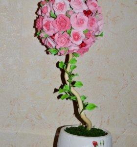 """Топиарий """"Розовые розы"""""""