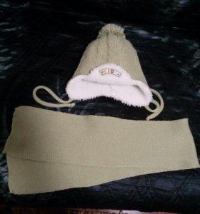 Зимняя шапка 43 размер и шарф
