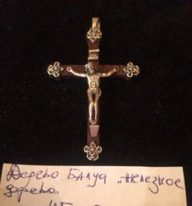 Крест серебро и дерево