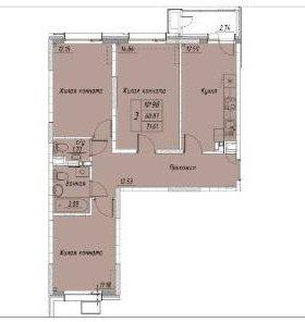 Квартира, 3 комнаты, 71.6 м²
