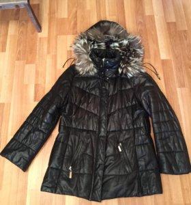 Куртка, Кожаный пуховик с мехом песца