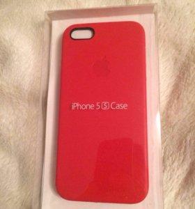Кожаный чехол на iPhone 5/5s/5se красный