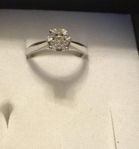 Кольцо, белое золото, бриллианты