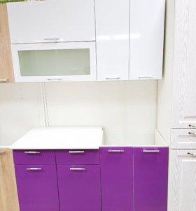 Кухня Ксения 1,4 Белый /фиолетовый