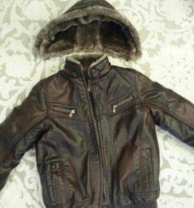 Куртка кожаная, зимняя, новая