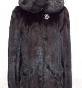 Стильный норковый полушубок черного цвета 42 44