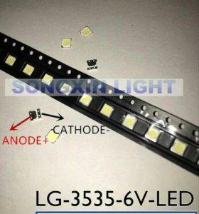 Светодиоды SMD LED 3535 6В холодный белый