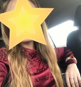 Блузка шикарная ярко-винного цвета