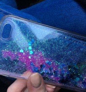Чехол с блестками на айфон iPhone 6 - 6 s