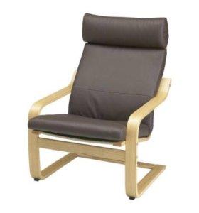 Кресло ПОЭНГ - подушки кожа натур. Темно-коричнево