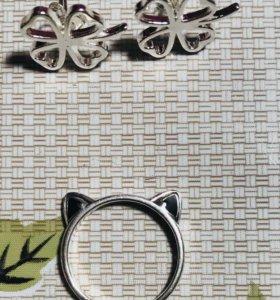 Кольцо кошка и серёжки