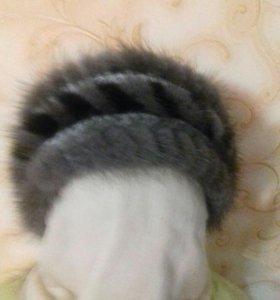 Повязка на голову,вязаная голубая норка