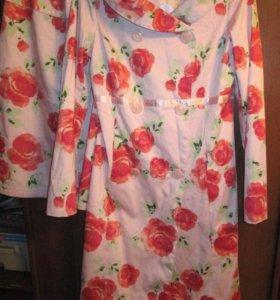 Хлопковый костюм H&M плащ и юбка р.44-46