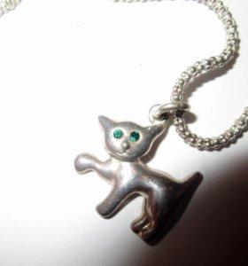 Серебряная цепочка с кулоном КОШКА Италия