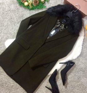 Шерстяное пальто хаки ((s)