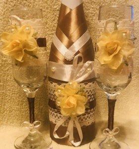 Фужеры, бокалы свадебные подарок ручной работы