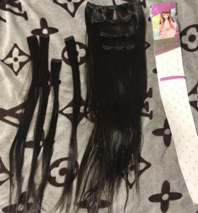 Натуральные волосы на заколках 70см
