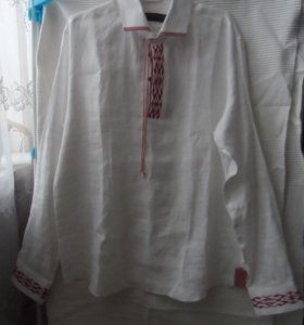 Рубашка 100% лен с вышивкой (размер 52)