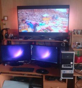 Компьютер с двумя мониторами ips 23''(58.5cm)WI-FI