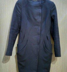 Стильное шерстяное пальто Dekka серо-фиолетовое