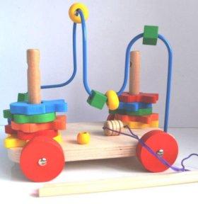Деревянная игрушка для малышей каталка + лабиринт