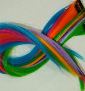 Волосы на заколках цветные