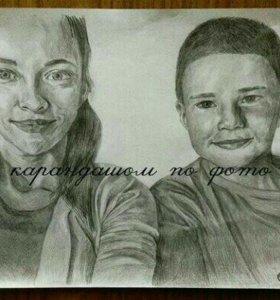 Портреты карандашом по фото на заказ