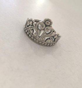 Кольцо серебряное корона