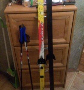 Лыжи 140см. с палками