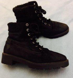Zara зимние ботиночки из натуральной кожи