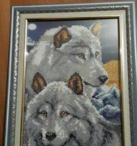 Картина из бисера (Волки)