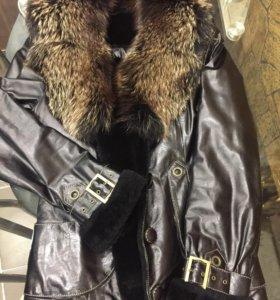 Куртка кожаная на натуральном меху