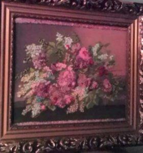 Картина вышивка бисером и лентами