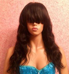 Волнистый  парик с челкой система волос