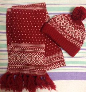 комплект шарф и шапка (+перчатки)