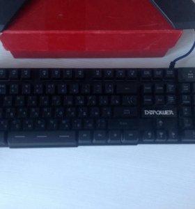 Игровая светящаяся клавиатура и мышь