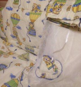 Мягкие борта в кроватку и балдахин