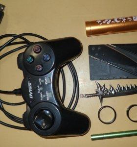 Джойстик, кольца, брелок меч, нож визитка, стилус