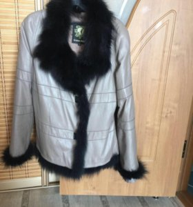 Куртка - кожаная + мех таскан