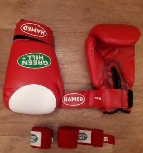 Перчатки боксерские и бинты к ним