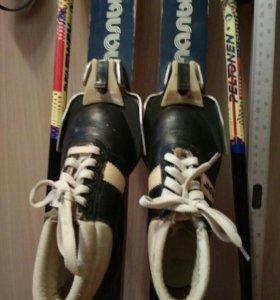 Лыжи детские 82см с ботинками 17.5см