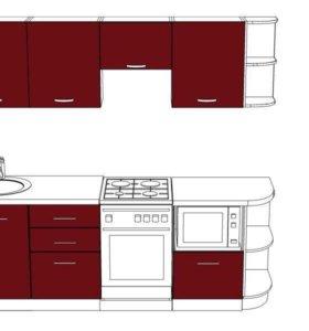 Кухня «Венге» серия Лайт с пластиковым фасадом 2,3