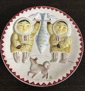 Тарелка глиняная,сувенир,на стену